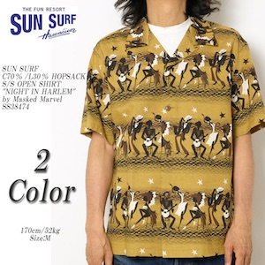 SUN SURF by MASKED MARVEL C70%/L30% HOPSACK S/S OPEN SHIRT NIGHT IN HARLEM SS38474